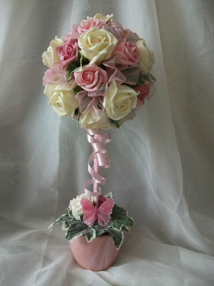 details about beautiful pink  u0026 ivory rose topiary tree
