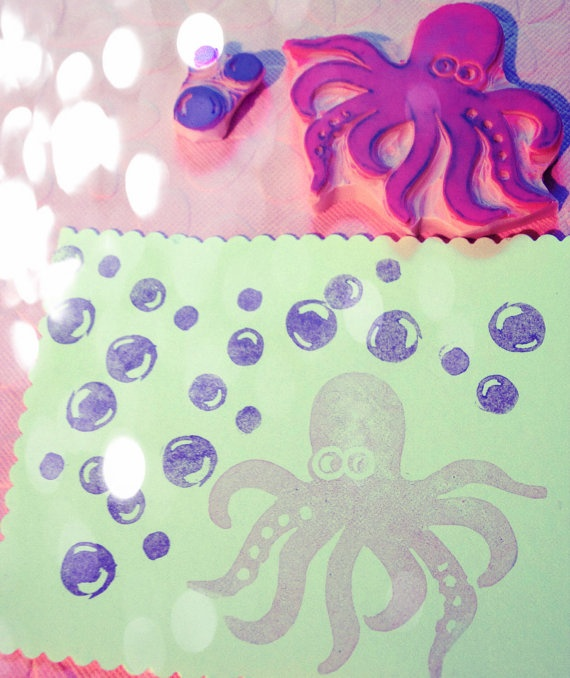 Octopus Rubber Stamp Set with Bubbles Ocean Animal by PoshBinky, $17.00