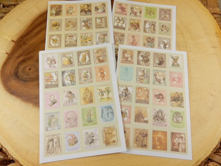 Alice In Wonderland Stamps, Vintage Stamp Stickers, Cardmaking, Scrapbooking Supply, Crafting, Book Wedding Theme, CS Lewis Books by Boutiqable on Etsy https://www.etsy.com/listing/459998477/alice-in-wonderland-stamps-vintage-stamp