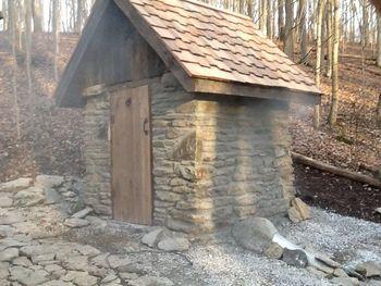 Pix of new stone smokehouse.