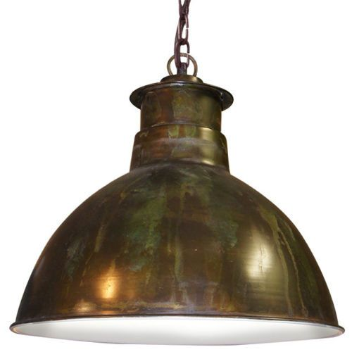 Marbaix 40cm pendant light copper patina white schots for Rustic industrial kitchen lighting