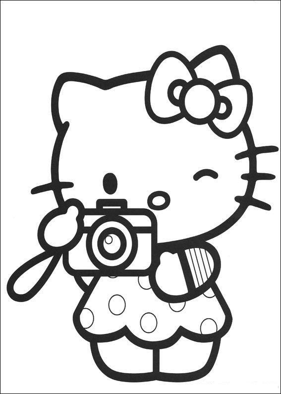 Hello Kitty Baseball Coloring Pages : Kleurplaat hello kitty camera kleurplaten pinterest