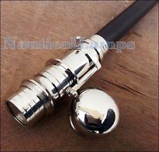 Vintage Solid Brass Handle Victorian Telescope Head Wooden Walking Stick Cane