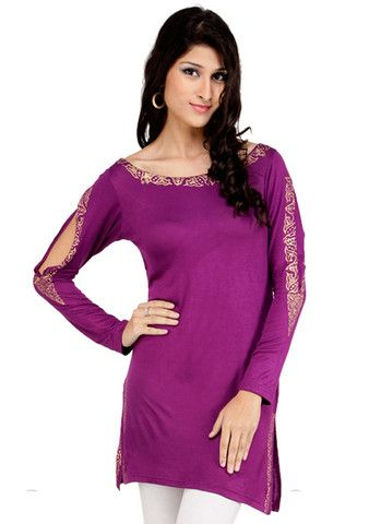 Captivate attention dressed up in this modish purple shade viscose tunics for women by Ira Soleil. Kurti features foil printed decorative patterns on the neckline, sleeves and side slits giving the attire an alluring look.