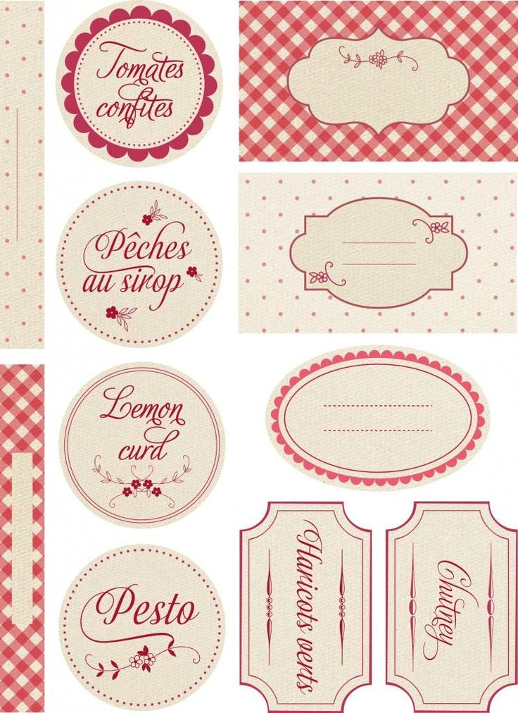 Pretty labels for homemade goodies. Easy to print using Avery 8165 full-sheet labels.