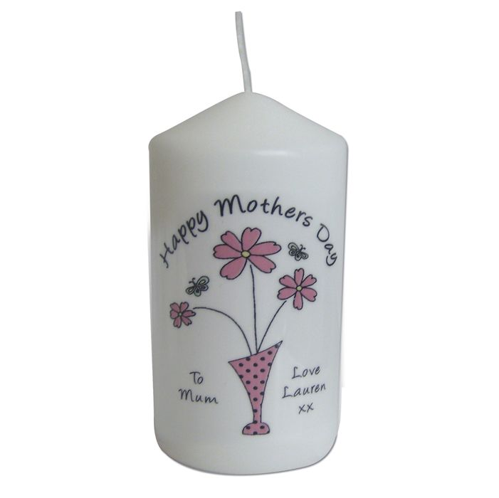 Personalised Flower in Vase Message Candle This lovely candle comes in an organza bag and can be personalised with any occasion above the design up to 20 characters. You can also add a message to the left of the vase of 2 lines of up to 15 characters, and a slightly longer message on the right of the vase of up to 3 lines of 15 characters. £9.99