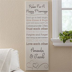 """This canvas is beautiful! You can write your own """"Rules for a Happy Marriage""""  and add the couple's names at the bottom ... such a cute wedding gift idea! This could also be a cute wedding guestbook ... the bride & groom can personalize it with their own rules and then have the guests sign it as they walk into the reception ... then they have wall art for their home, too! #Wedding"""