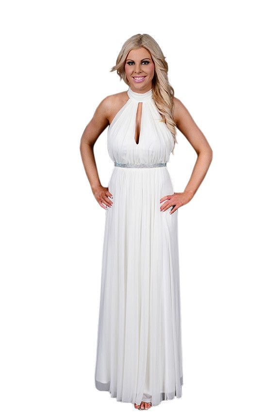 Elegant High Neck gown with Keyhole opening Front and Back. Featuring diamante belt waist 7251WA from Xpressions Fashion House