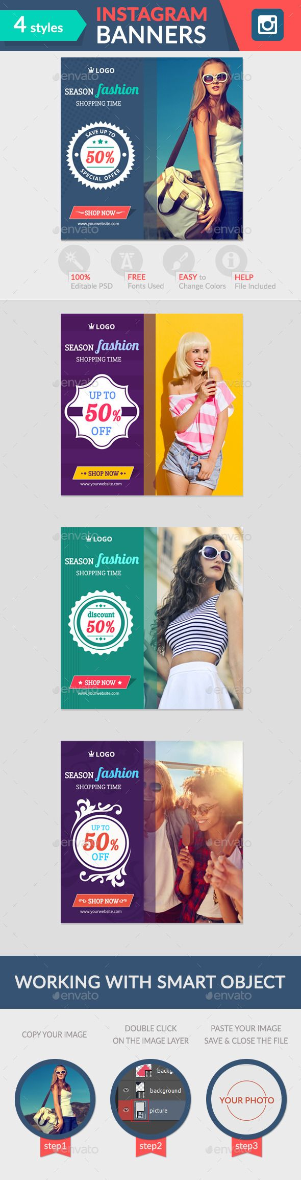 Instagram Banners Template #design #ads Download…
