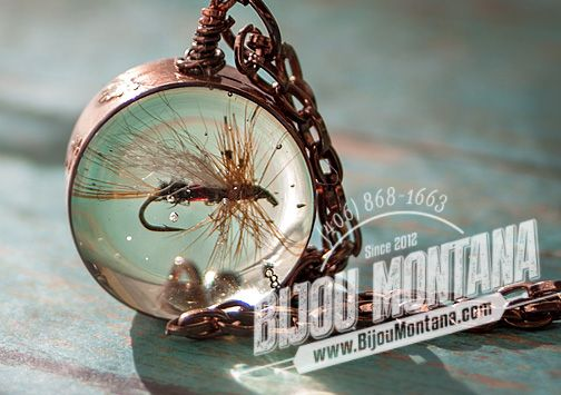 Custom handmade Montana charms! Featuring copper, resin and hand-tied fly fishing flies. Montana jewelry.