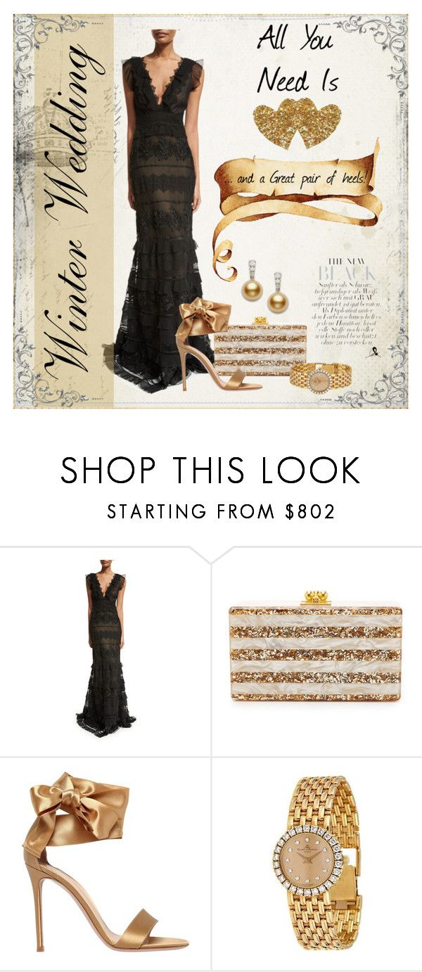 """Love & shoes!"" by quicherz ❤ liked on Polyvore featuring NOIR Sachin + Babi, Edie Parker, Gianvito Rossi, Baume & Mercier, Mikimoto and winterwedding"
