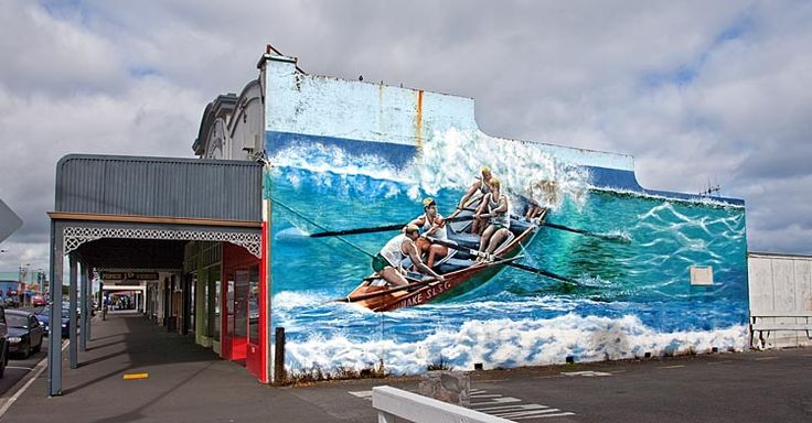 Opunake, a town of murals, and surfing capital, see more at New Zealand Journeys app for iPad www.gopix.co.nz