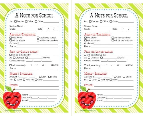 school notes  free printable