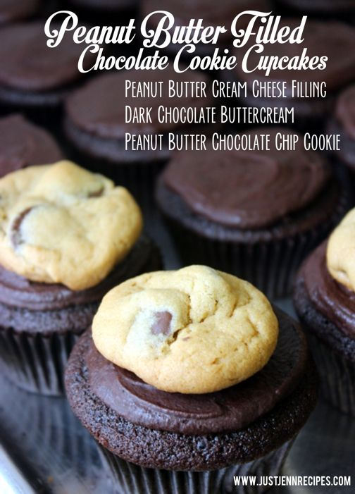 Peanut Butter Filled Chocolate Cookie Cupcakes