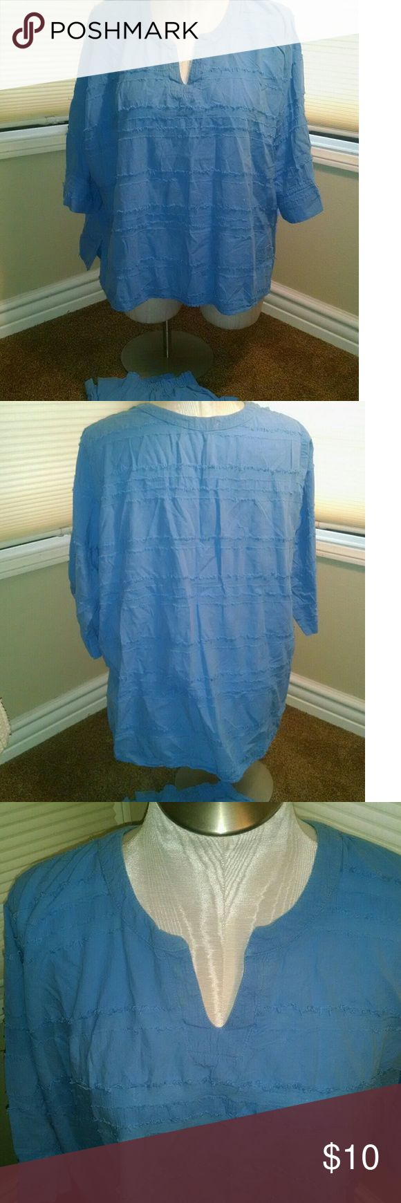 casual blue two piece outfit 1X Pants have elastic waist,  3X roomy pullover top Produce Co Tops