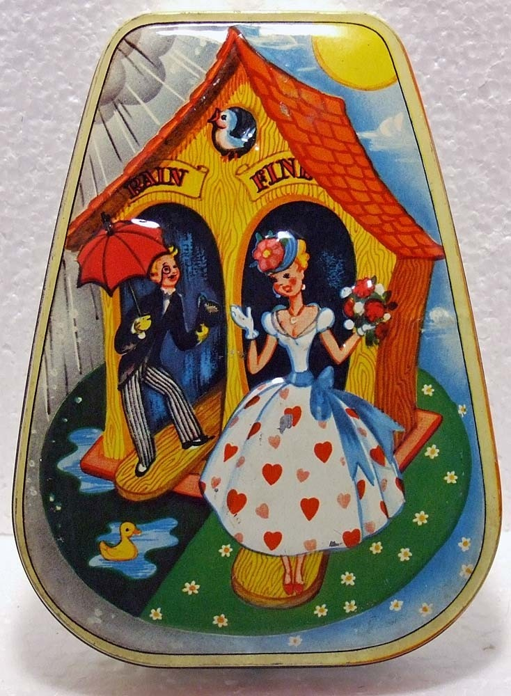 1950's Candy Container Tin Classic Valentine Hearts Coo Coo Clock Graphics Made by Horner England