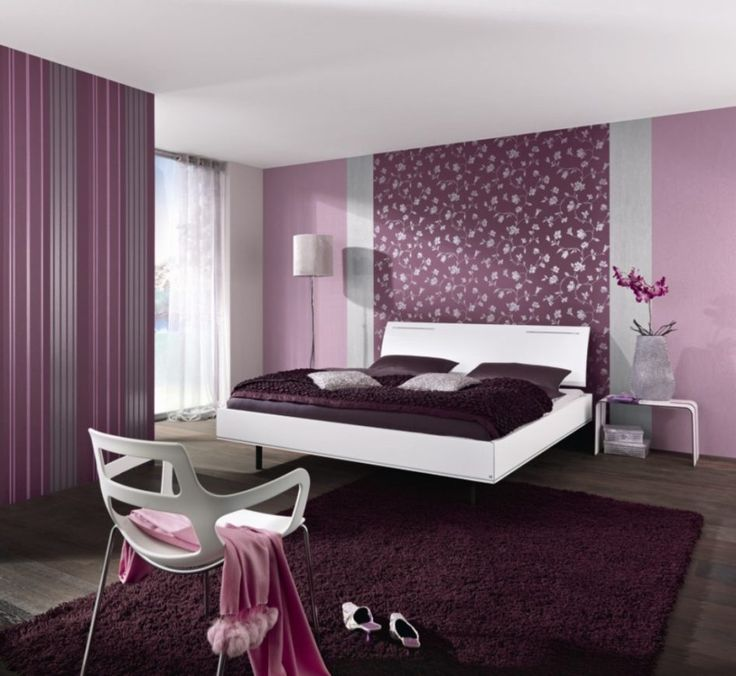 Floating Bed In White Wood Bed Frame Purple Master Bedroom Ideas ... Dunkel  Lila SchlafzimmerDunkellila ...