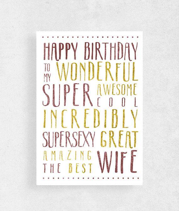 Happy birthday card for Wifefunny card for by WeJustLikePrints  #cardforWife  #funnybirthdaycard #Happybirthday #greetingcard #birthdaycard #greetingcardforwife