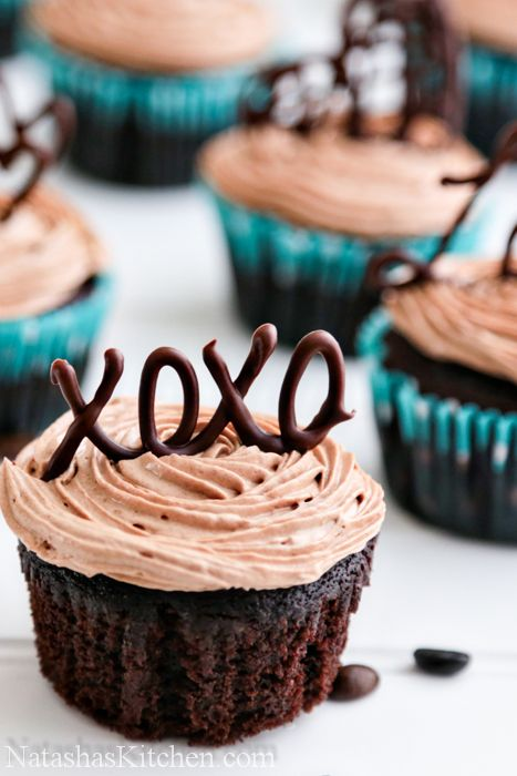 Moist Chocolate Cupcakes with Prague Frosting - love the chocolate letters