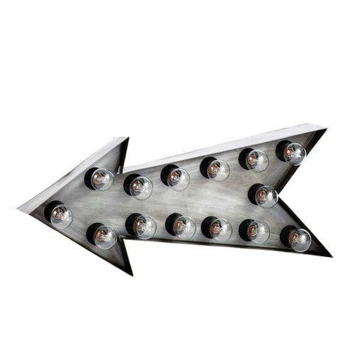 Pfeilförmige Wandleuchte im Industrial-Stil DAKOTA aus Metall, B 64cm