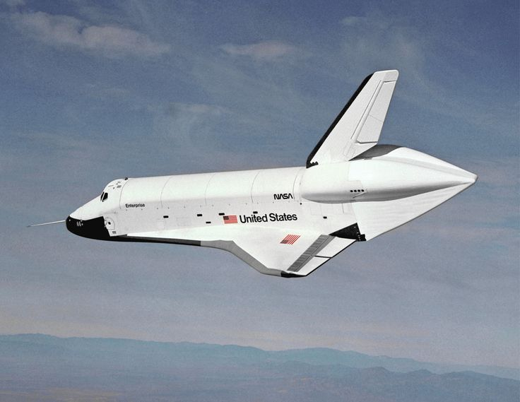 Space Shuttle Enterprise - The first Space Shuttle. The aerodynamic fairing at the back was used during glide testing.