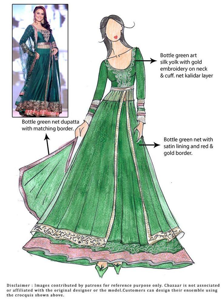 DIY Green Preity Zinta Net Lehenga Choli