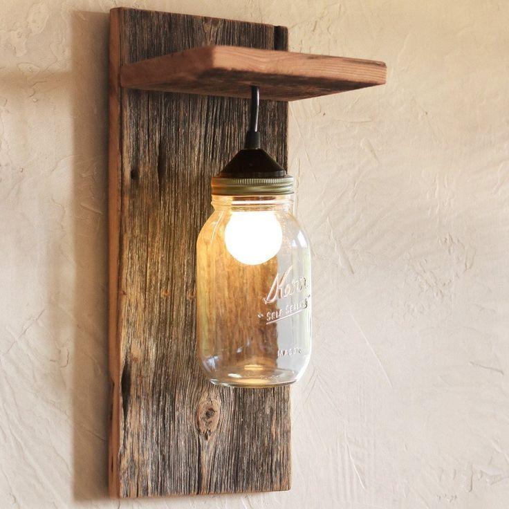 Handmade Barn Wood Amp Mason Jar Wall Light Fixture Mason