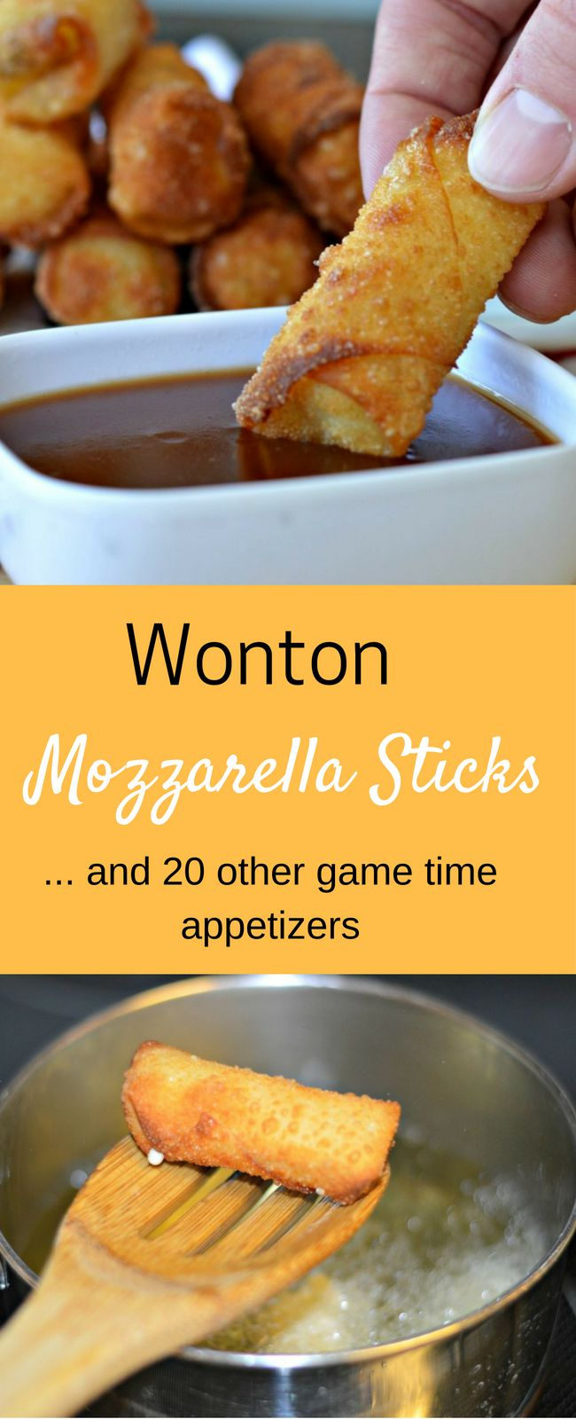 These Wonton Mozzarella Sticks are perfect for game time or anytime! Also, this post includes 20 other game time appetizers too! #Ad #FrolicIntoFallWithTampico