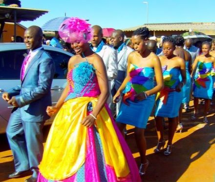 Tsonga traditional wedding dress. The Tsonga people living along the Limpopo River in South Africa.