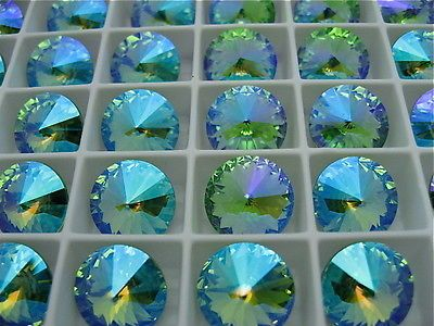 4 Peridot Glacier Blue Swarovski Crystal Rivoli Stone 1122 12mm