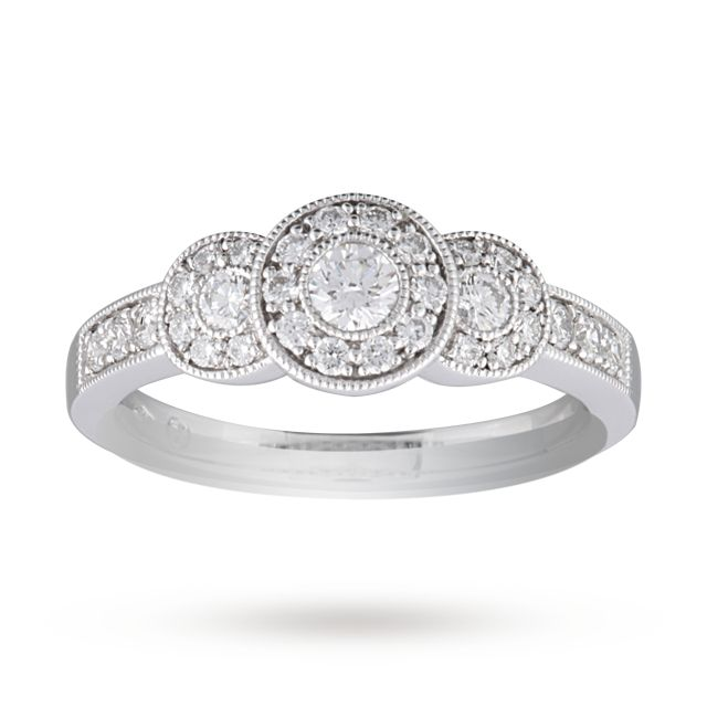 Brilliant Cut 0.52 Carat Total Weight Three Stone Diamond Ring Set in 9 Carat White Gold - Ring Size J | Gifts | Goldsmiths