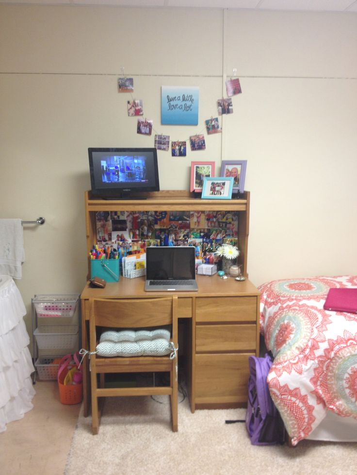 Dorm room desk with pictures on it  Bulldog Days  Dorm