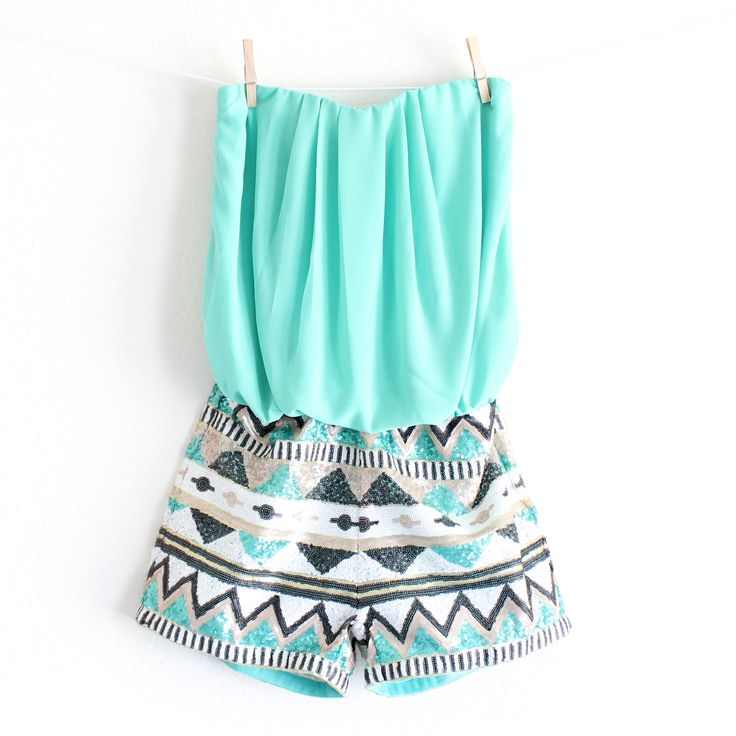 turquoise aztec print tribal sequin romper strapless fashion bohemian boho gypsy vintage inspired style