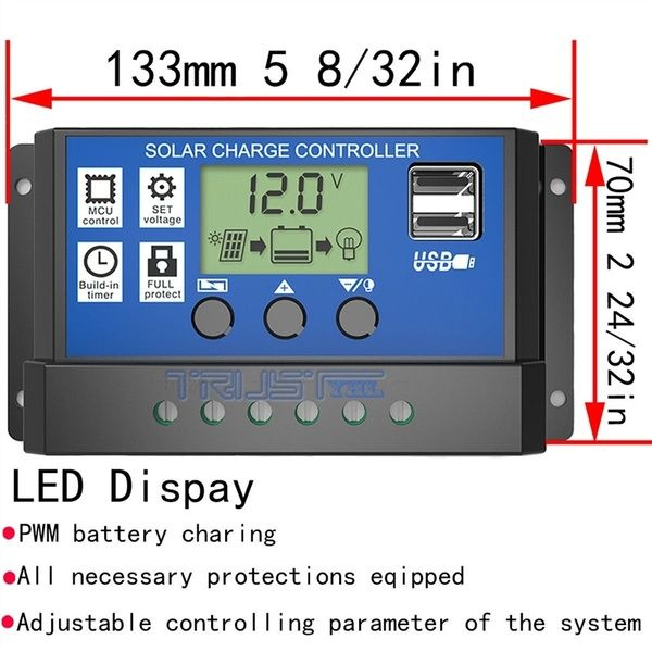30a 12v 24v Solar Charge Controller Generator With Usb Ports Backlight Display Home Solar Panel Battery Intelligent Regulator Wish Solar Panel Battery Solar Panels Solar Panels For Home