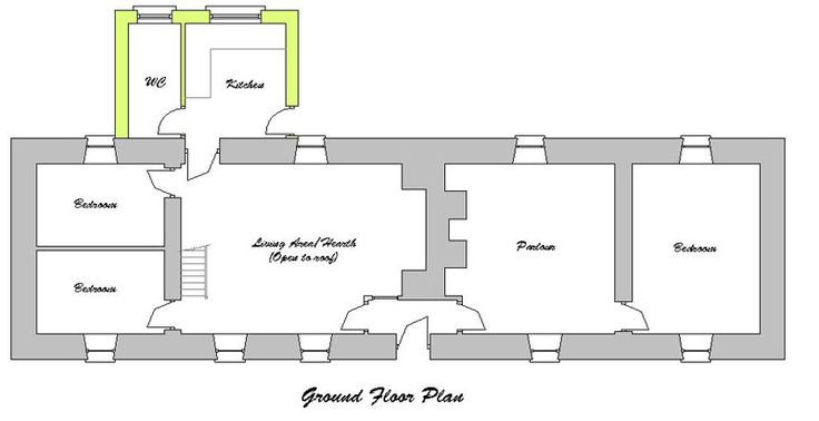 Ground floor plan for the traditional irish linear farm for Traditional irish cottage designs