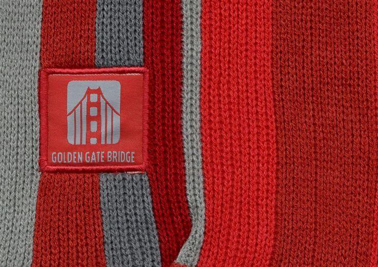 Knitting Vertical Stripes Scarf : Golden gate bridge vertical stripes adult knit scarf