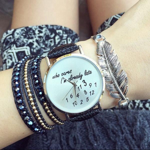 I'm+already+late+-+Zwart+Horloge,Lederen+Horloge+van+missyouparty+op+DaWanda.com