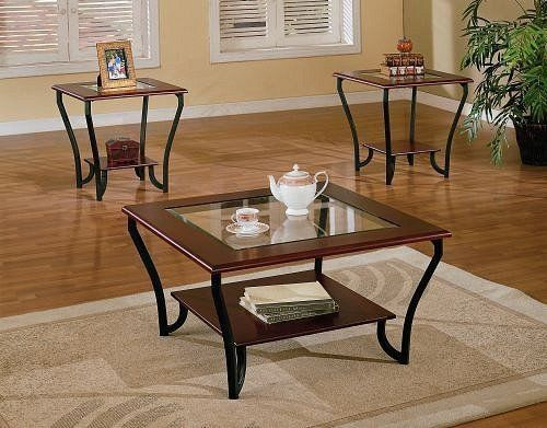 3pc Cherry Brown Cocktail Coffee Table 2 End Table Set W Glass By Poundex 336 05 Living Room 3pc Cherry Brown Black Coffee Table 2 End Table Set