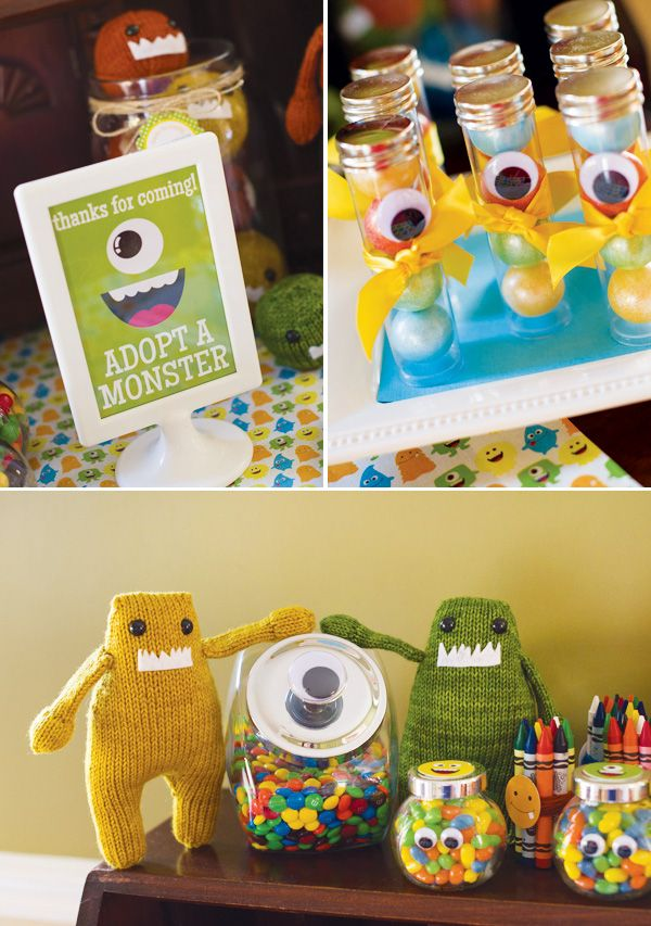 Little Monster birthday party with cute activities. Love the use of googly eyes.