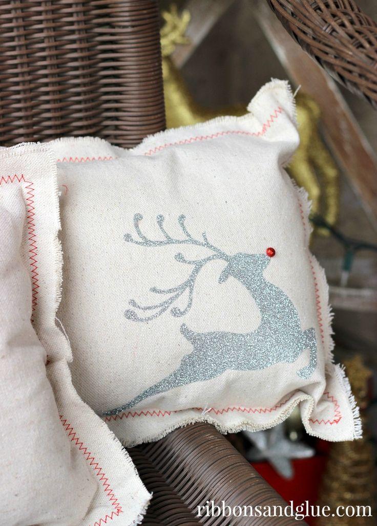 DIY Christmas Drop Cloth Pillows
