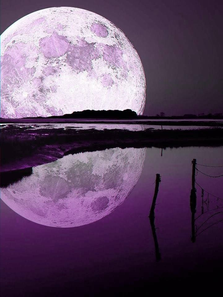 Purple moonscape with lavender moon, via pinterest #purple #moon #water