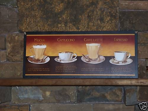 Coffee Theme Kitchen Wall Decor Sign Decor Espresso Mocha Cappuccino Latte