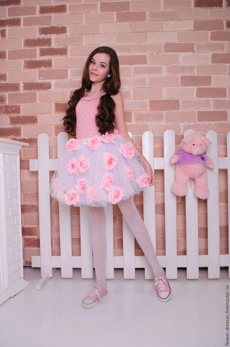 Купить Юбка детская - комбинированный, фатин, фатиновая юбка, сетка, туту юбка, цветы