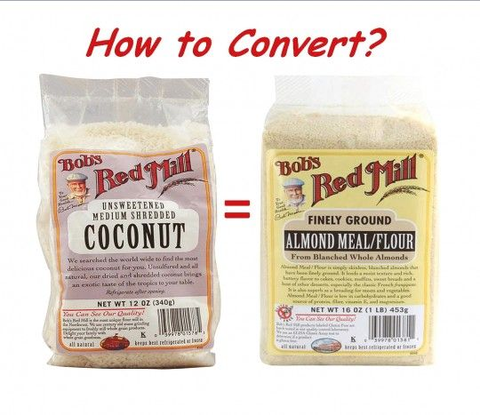 Conversion between Almond and Coconut flour