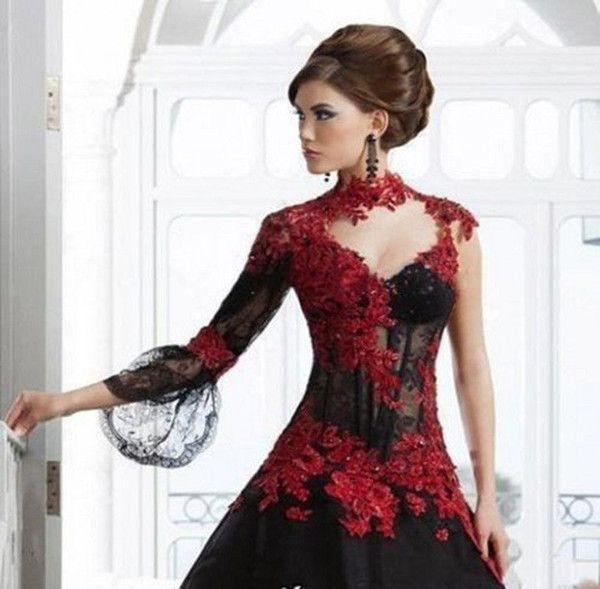 e828973a151 2017 Victorian Gothic Masquerade Wedding Dress Black And Red Dress Formal  Event Gown Plus Size Robe De Soire Vestido De Festa Longo Ball Gown Ball  Gown ...