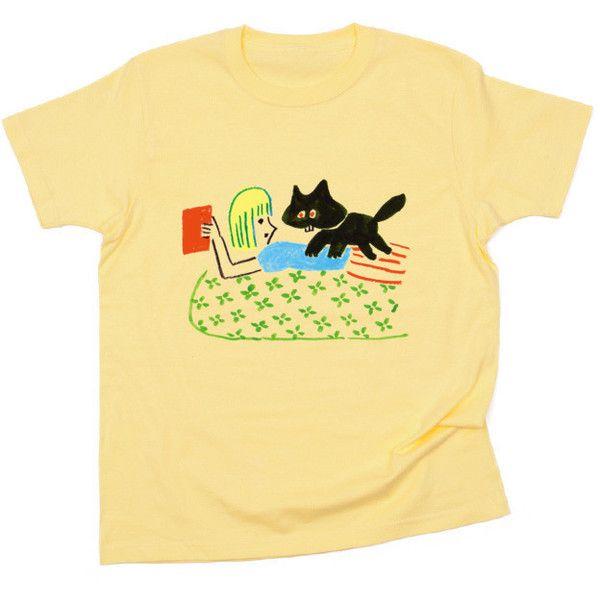 ガールとネーコ 2 ❤ liked on Polyvore featuring tops, t-shirts, shirts, beige t shirt, beige shirt, shirts & tops, beige top and t shirts