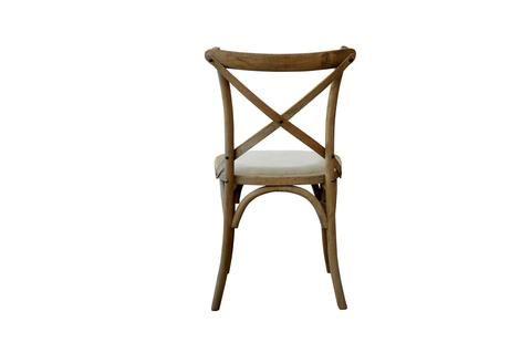 DAVID Padded Oatmeal Linen & Oak Cross-back Chair Style My Home Sydney Australia Hamptons Coastal