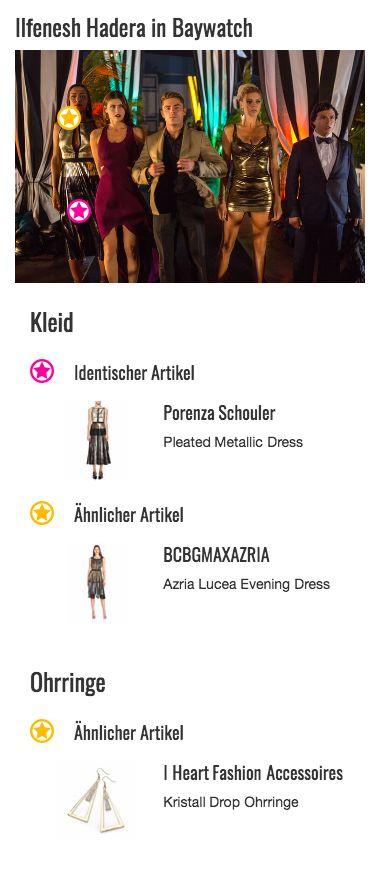 Ein absoluter Hingucker ist vor allem das Kleid von Stephanie Holden (Ilfenesh Hadera). Der plissierte Rock weist einen spektakulären Farbverlauf von Gold zu Schwarz auf und kommt dank des glänzenden Stoffs im Metallic-Look perfekt zur Geltung. Ein schwarzes Gürteldetail grenzt den unteren Teil des Outfits vom oberen, etwas schlichteren Teil des Midi-Kleides ab. Dieser ist schlichter gehalten, besticht aber durch den raffinierten Ausschnitt im Cut-Out-Style, der von schwarzen Nähten umsäumt…