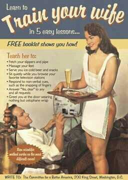 This 50's vintage ad ties in perfect with my negative advertising topic. This ad effects women because its saying that women are completely controlled by men and we are to serve them. Ads like these tend to make people believe that that what women should be doing.