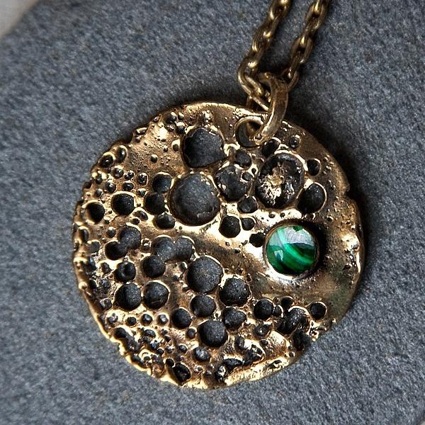 Lunar pendant in brass w/ Malachite stone - amazing #design from Pantheia - www.pantheia.com